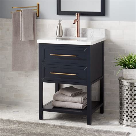 robertson mahogany console vanity  undermount sink midnight navy blue bathroom