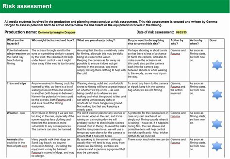 risk assessment template   risk management