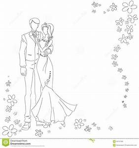Dessin Couple Mariage Noir Et Blanc : monochrome de couples de mariage image libre de droits ~ Melissatoandfro.com Idées de Décoration