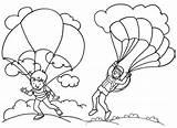 Parachute Coloring Landing Favourite Children sketch template