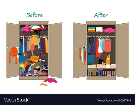 untidy   tidy wardrobe messy vector image