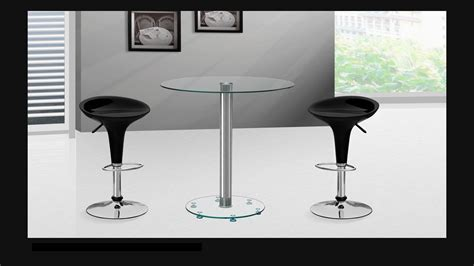 clear glass bar table  stools homegenies