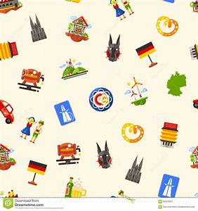 Germany Travel Seamless Pattern With Famous German Symbols ...