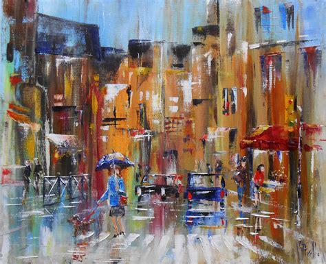 la maison de la peinture toulouse tableau quot parapluie en ville quot huile au couteau sur toile peintures par peintures axelle bosler