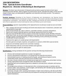 10 coordinator job description templates pdf doc With events manager job description template
