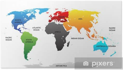 Verdenskort med fremhævede kontinenter Plakat • Pixers ...