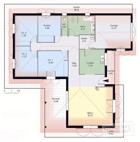plan de maison 5 chambres plain pied gratuit maison de plain pied 1 dé du plan de maison de plain