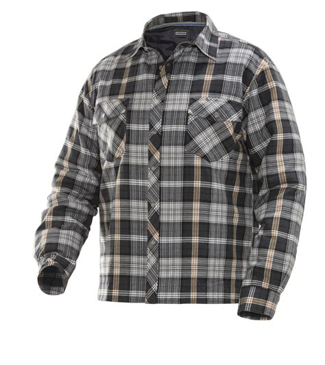 flannel shirt jacket with quilted lining jobman quilt lined flannel shirt