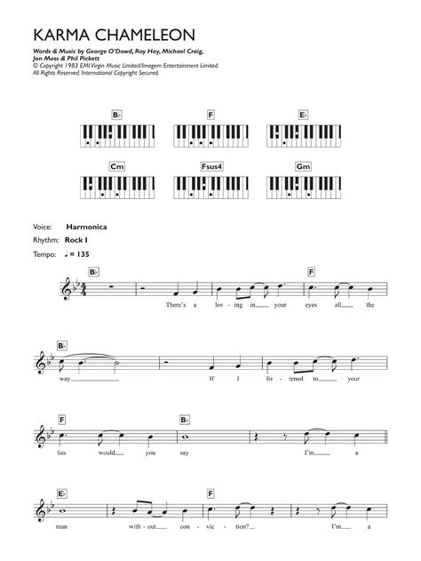 karma chameleon sheet music culture club keyboard