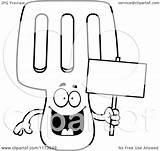 Spatula Coloring Cartoon Mascot Holding Happy Sign Background Outlined Clipart Vector Clip Keywordsuggest Credit Larger sketch template