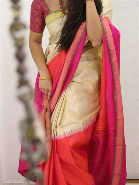 Cream Colored Pink Blouse Silk Saree For Women Cnd1863