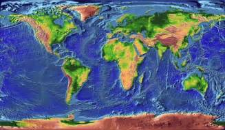 World Ocean Floor Topographic Map