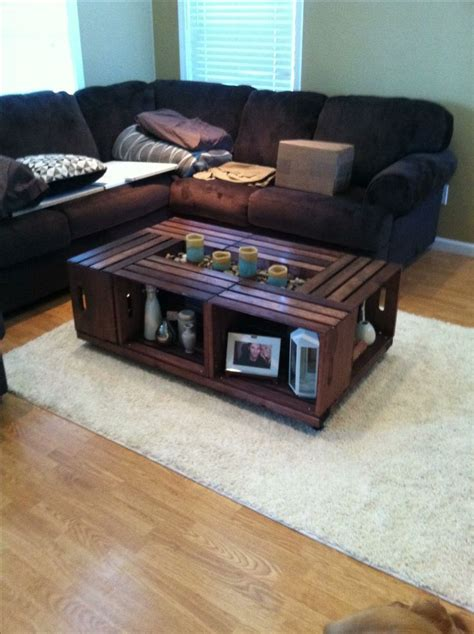See more ideas about wine crate, wine crate table, crates. Did the Pinterest crate coffee table with a twist, instead of using only 4 crates I used 6 so it ...
