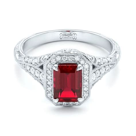 custom ruby and halo vintage engagement ring 102729 seattle bellevue joseph jewelry