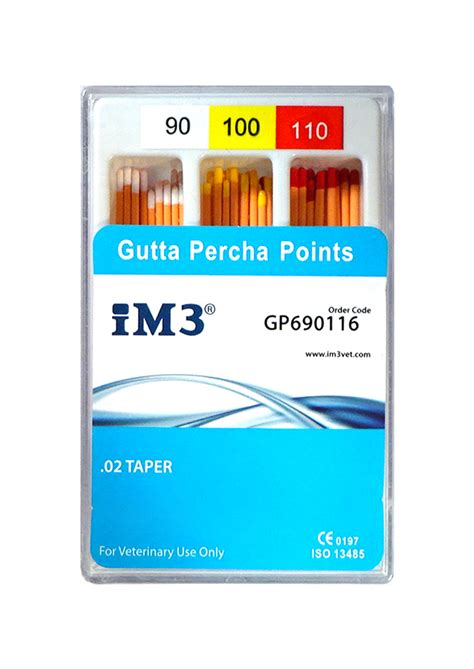 Gutta Percha Points - 60mm - ISO 90-110 - 60pcs | iM3 Vet Ltd