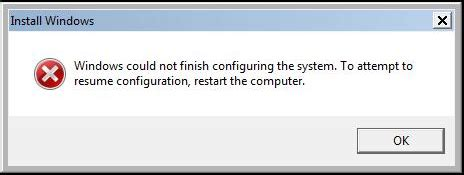 windows could not finish configuring the system to