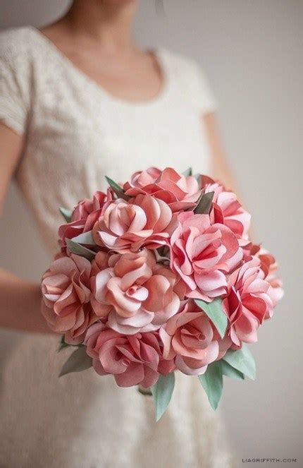 diy paper rose wedding bouquet lia griffith diy weddings