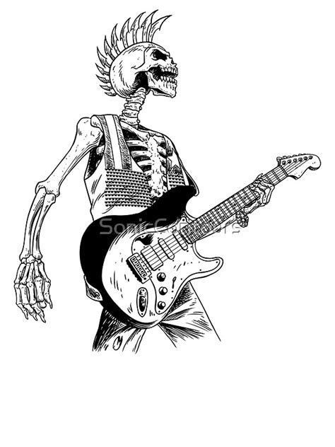 """""""Skeleton Bones Dead Electric Guitar Player 2"""" Stickers by"""