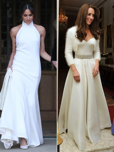 eugenies wedding dress  compare  meghan  kates