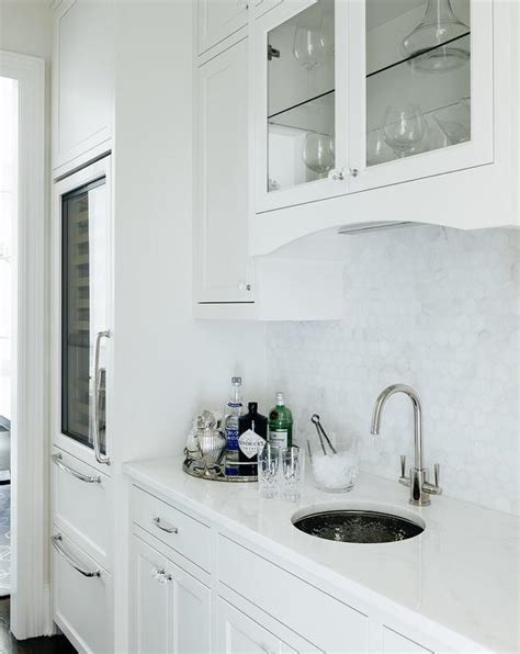 kitchen  white marble hex backsplash transitional