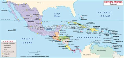map  central america travel holiday map