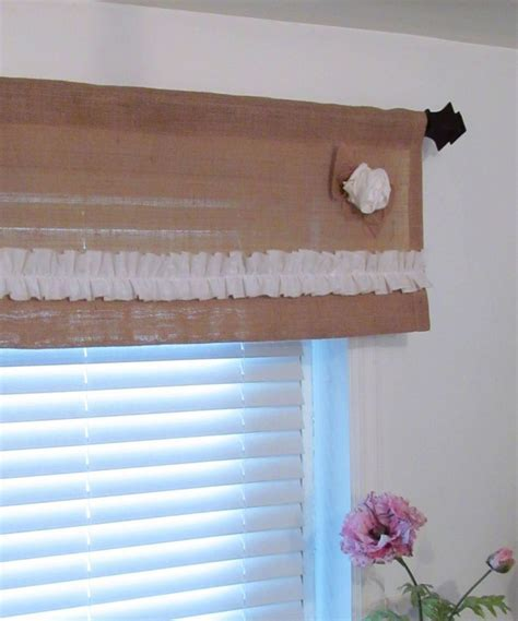 Custom TWO in ONE Burlap Ruffled Valance Muslin Rose
