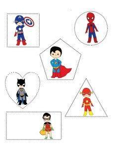 superheroes worksheets shapes tracing shapes crafts