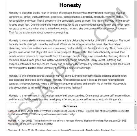 Thesis dedication examples essays and research papers. Honesty Essay Example for Free - 849 Words | EssayPay