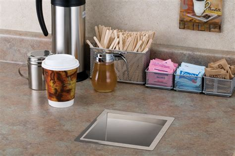 stainless steel trash grommet contemporary kitchen