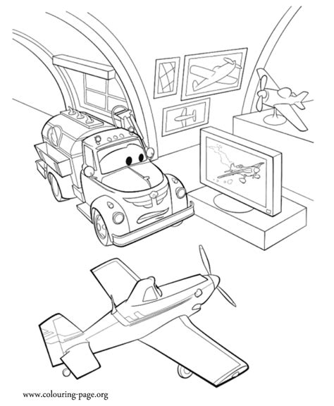 planes chug  dusty talking   race coloring page