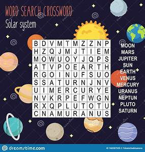 Easy Word Search Crossword Puzzle  Solar System  Stock