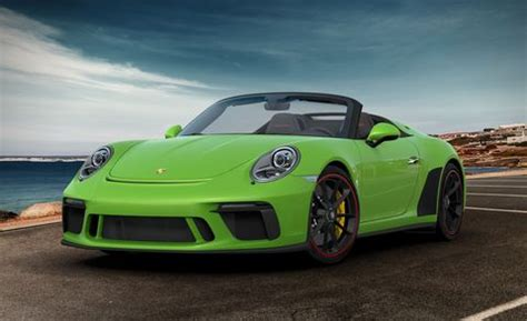 Beyond the lizard green paint, the sports car is sitting on the second green porsche 911 you see is painted viper green and is a used 2018 911 turbo s coupe. 2019 Porsche 911 Speedster Configured Five Ways - Build Your Own