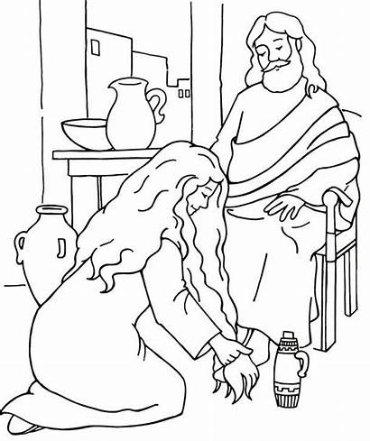 Jesus Feet Coloring Woman Bible Pages Washes