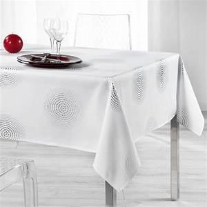 Nappe De Table Rectangulaire : nappe rectangulaire l300 cm atome blanc nappe de table eminza ~ Teatrodelosmanantiales.com Idées de Décoration