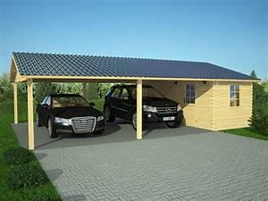 Carport Avec Abri : carpot double en bois abris en bois 45m ~ Melissatoandfro.com Idées de Décoration