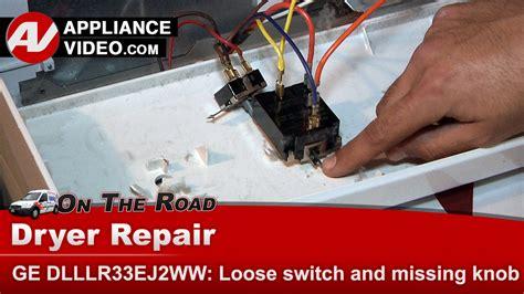 ge dlllrejww dryer loose switch  missing knob control panel appliance video