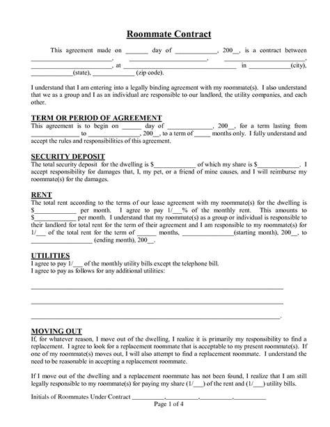 roommate agreement template cyberuse