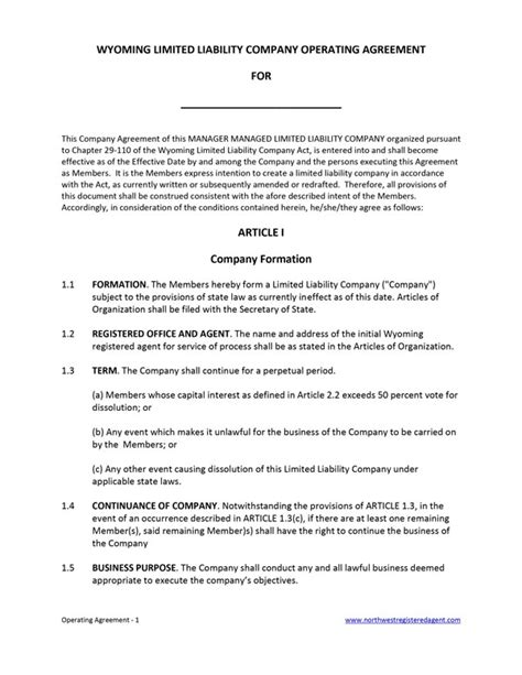 100 operating agreement template sle operating