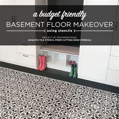A Basement Floor Makeover Using A Tile Stencil   Stencil