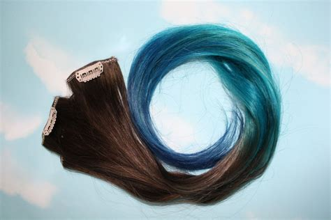 Ombre Turquoise Blue Tip Dyed Hair Extensions Dark Brown