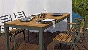 Table De Jardin Bois Et Metal : table de jardin bois et metal table et chaise de jardin en resine pas cher newbalancesoldes ~ Teatrodelosmanantiales.com Idées de Décoration