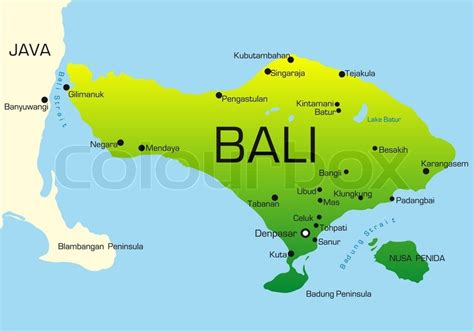 vector map  bali country colored  national flag