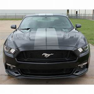 2015-2017 Ford Mustang DIGITAL FADED RALLY STRIPES Silver Hood Striping Factory OEM Style Vinyl ...