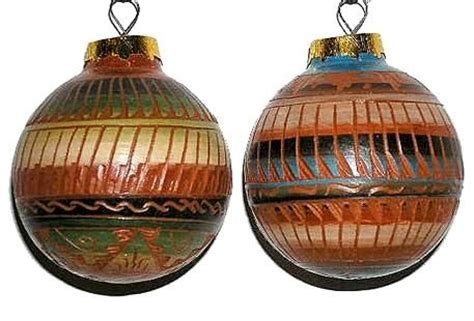 southwest christmas ornaments etched clay navajo pottery southwest ornament