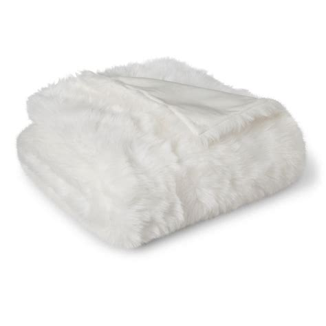 threshold white faux fur throw blanket target