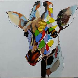 Tableau Peinture Sur Toile : tableau peinture girafe multicolore pop art peinture sur toile ~ Teatrodelosmanantiales.com Idées de Décoration