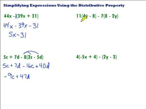 Simplifying Using The Distributive Property Youtube