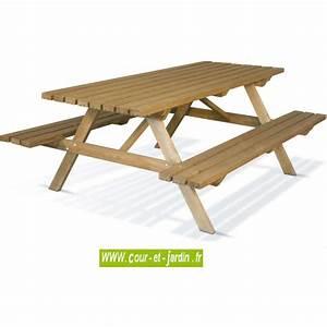 Table Et Banc De Jardin : table pique nique bois avec banc s table picnic bois ~ Melissatoandfro.com Idées de Décoration