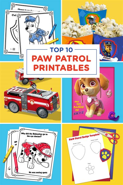 top  paw patrol printables   time nickelodeon