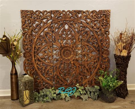 """Buy 3d wall panels and get the best deals at the lowest prices on ebay! Large Square Rustic Tuscan Scrolling Carved Dark Wood Set/3 Wall Panels 48"""" x 48"""" Home Decor in ..."""